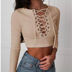 Tops - Tan long sleeve crisscross crop top boutique